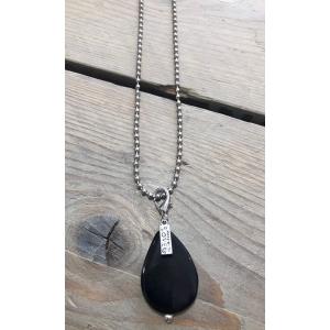 Bolletjes ketting met steen zwart.