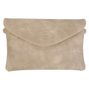 Clutch met croco flap beige.