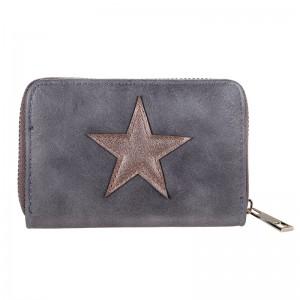 D Portemonnee klein grijs met ster.