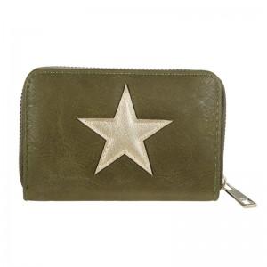D Portemonnee klein groen met ster.