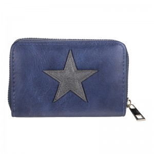 D Portemonnee klein blauw met ster.