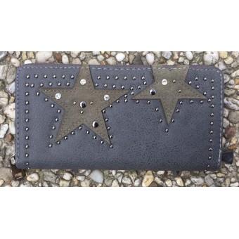 A Portemonnee met ster en stud grijs.