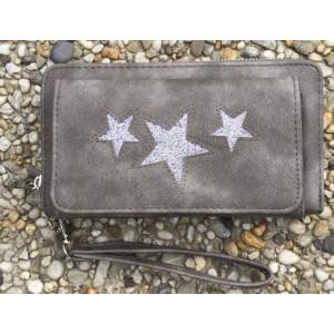 B Portemonnee ster met vakje grijs.