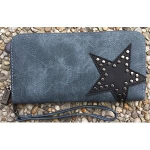 -nieuw- Portemonnee met stud en ster blauw.