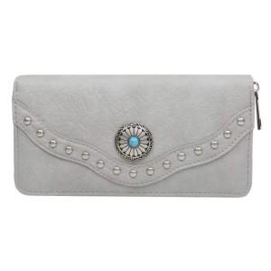 Portemonnee met steen groot grijs.
