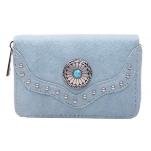 Portemonnee met steen klein blauw.