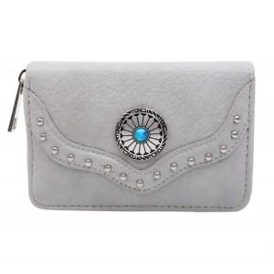 Portemonnee met steen klein grijs.