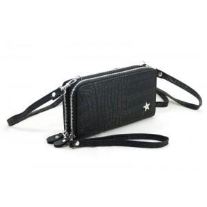 Dubbele portemonnee zwart.