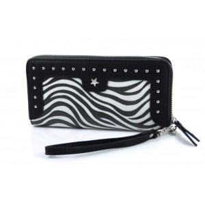 Portemonnee zebraprint zwart/ wit.