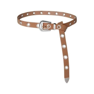Belt studs bruin/ zilver.