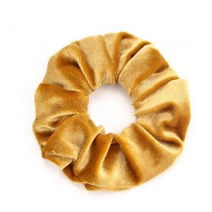 Scrunchie velvet okergeel.