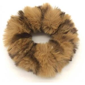 Fluffy scrunchie donkerbruin.