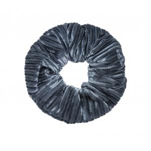 Scrunchie velvet grijs rib.