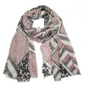 Sjaal met sterretjes en panterprint roze.