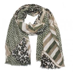 Sjaal met sterretjes en panterprint groen.