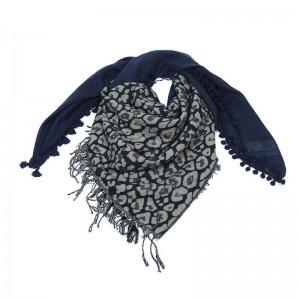 Sjaal met veelzijdige print blauw.