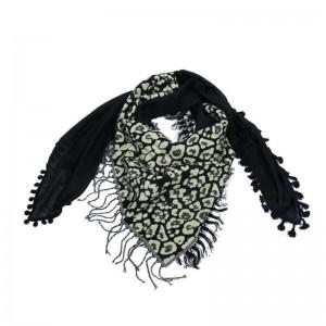 Sjaal met veelzijdige print zwart.