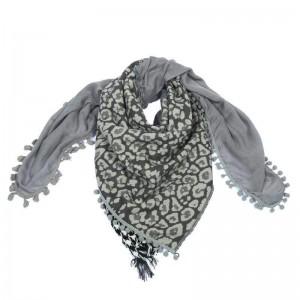 Sjaal met veelzijdige print grijs.