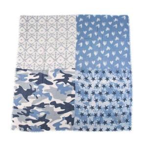 Sjaal vierkant blauw.