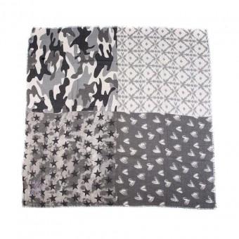 Sjaal vierkant zwart/ grijs.