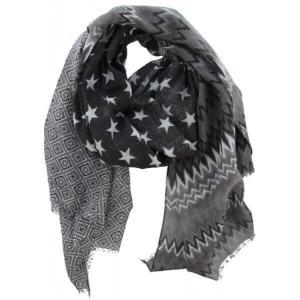 Sjaal zwart met verschillende print.