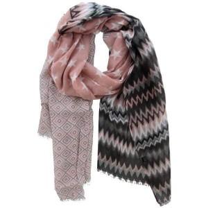 Sjaal roze met verschillende print.