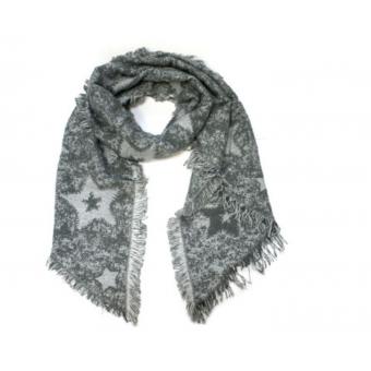 Schuine sjaal grijs met sterren.