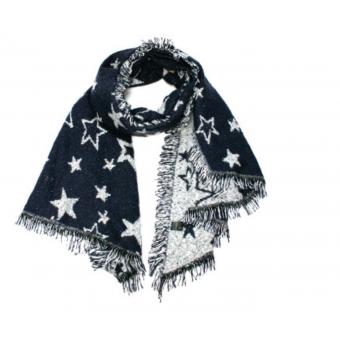 Sjaal donkerblauw met sterren.