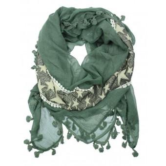 Sjaal met sterren en kwastjes groen.