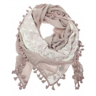 Sjaal met sterren en kwastjes roze.