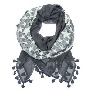 Sjaal met sterren en kwastjes grijs.