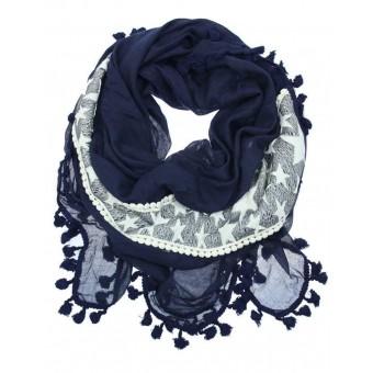 Sjaal met sterren en kwastjes blauw.