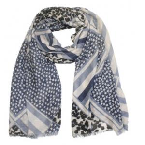 Sjaal met sterretjes en panterprint blauw.