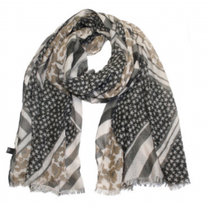Sjaal met sterretjes en panterprint zwart.