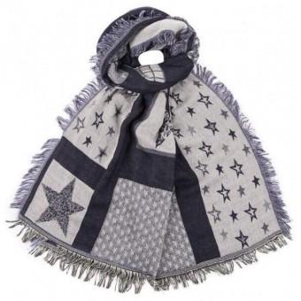 Sjaal langwerpig ster blauw.