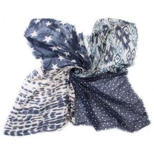 Vierkante sjaal blauw.