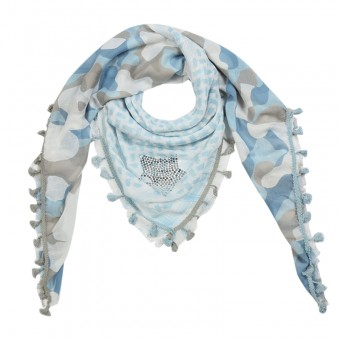 Sjaal Army lichtblauw.