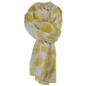 Sjaal met gele stippen.