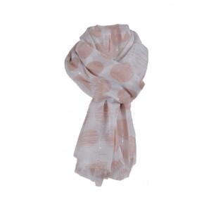 Sjaal met roze stippen.