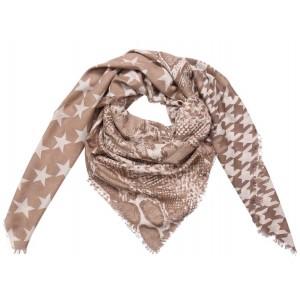 Sjaal sterren met dierenprint beige.