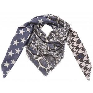 Sjaal sterren met dierenprint blauw.