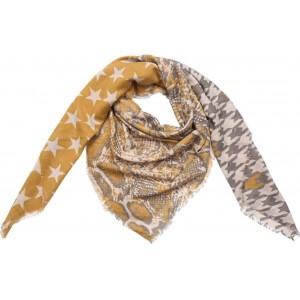 Sjaal sterren met dierenprint okergeel.