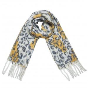 Warme panterprint sjaal blauw met okergeel.