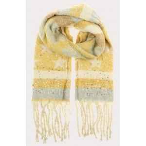 Warme sjaal geel met ster.