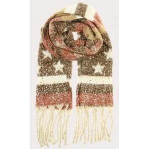 Warme sjaal bruin met ster.