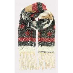 Warme sjaal zwart/ rood met ster.