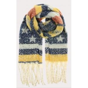Warme sjaal blauw/ geel met ster.