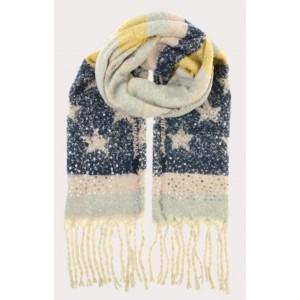 Warme sjaal blauw met ster.