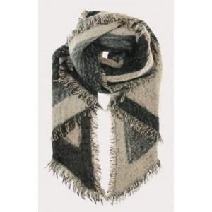 Warme sjaal grijs/ zwart/ crème.