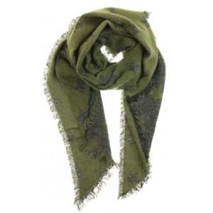 Warme sjaal groen met punt.